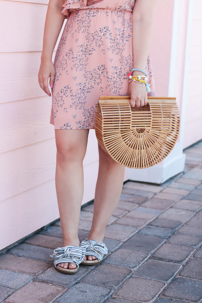 Miami fashion blogger Stephanie Pernas wearing stripe sandals and floral dress