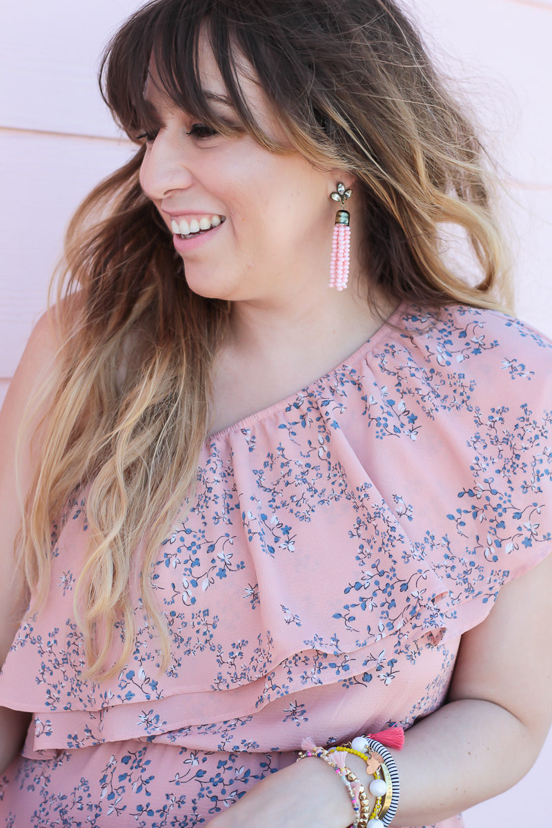 Miami fashion blogger Stephanie Pernas wearing Sugarfix Baublebar earrings and a pink floral dress