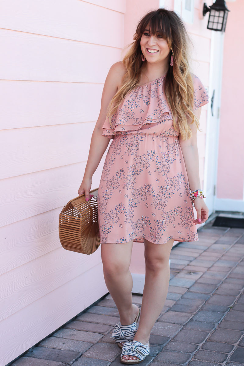 Miami fashion blogger Stephanie Pernas wearing a pink one shoulder ruffle dress