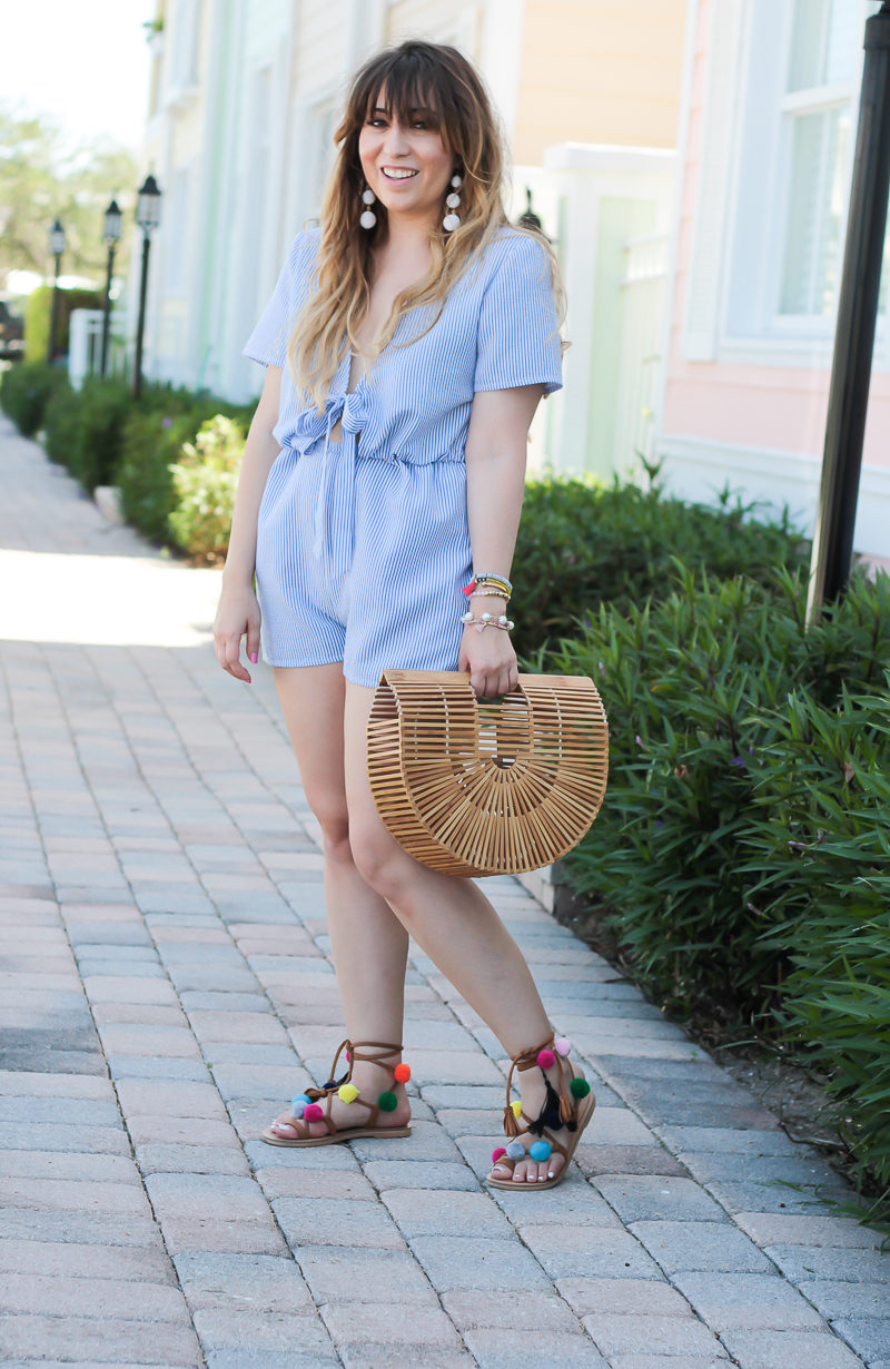 Miami fashion blogger Stephanie Pernas wearing a spring romper outfit idea