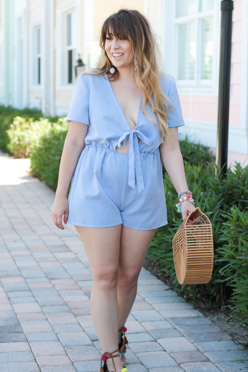 South florida fashion blogger Stephanie Pernas wearing a blue stripe romper outfit