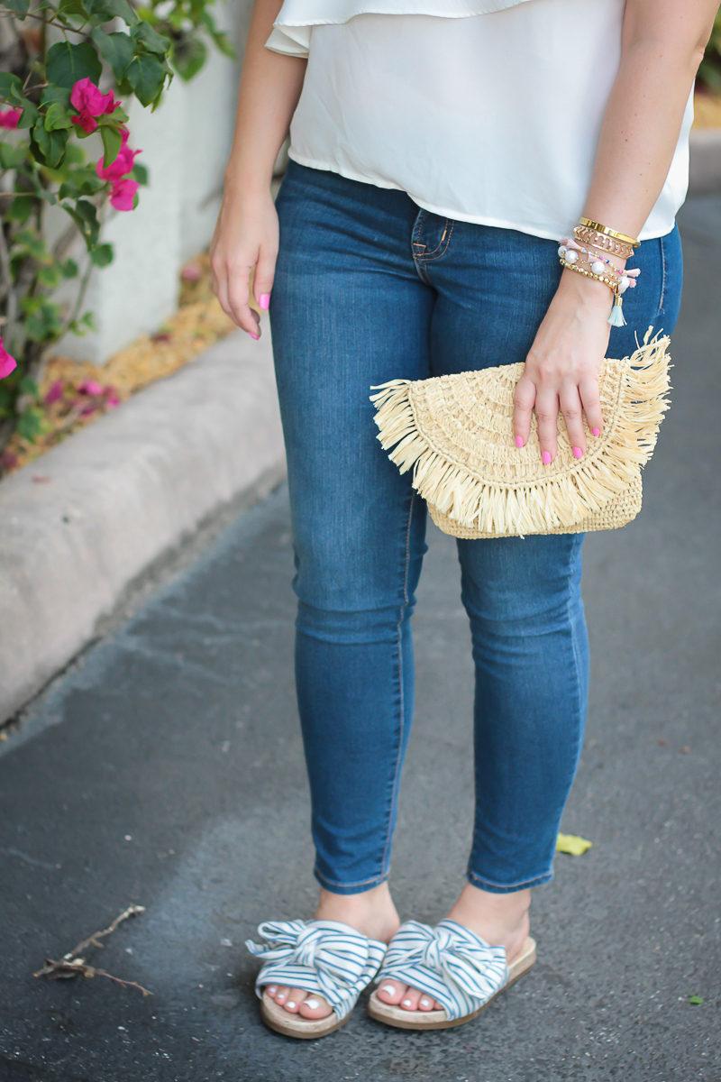 Miami fashion blogger Stephanie Pernas styles a Mar y Sol Mia clutch with Sam & Libby bow slides