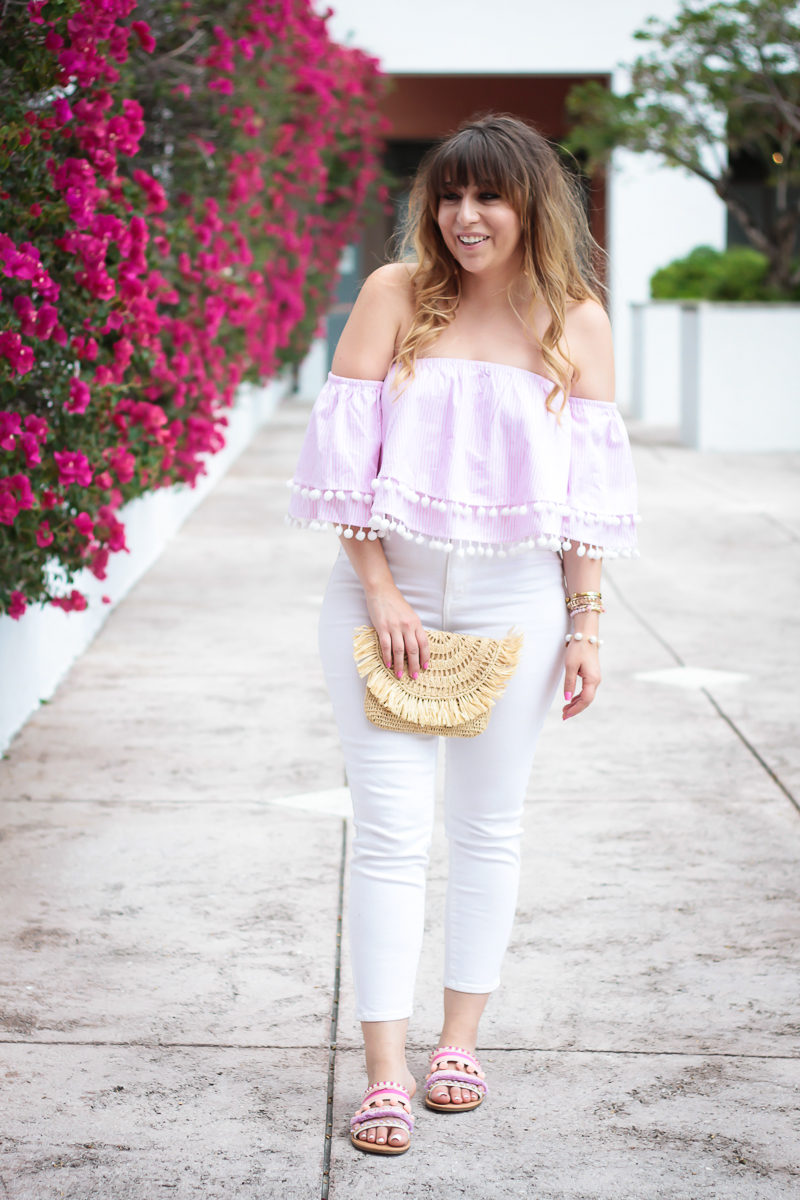 Miami fashion blogger Stephanie Pernas styles a Forever 21 stripe top and white skinny jeans