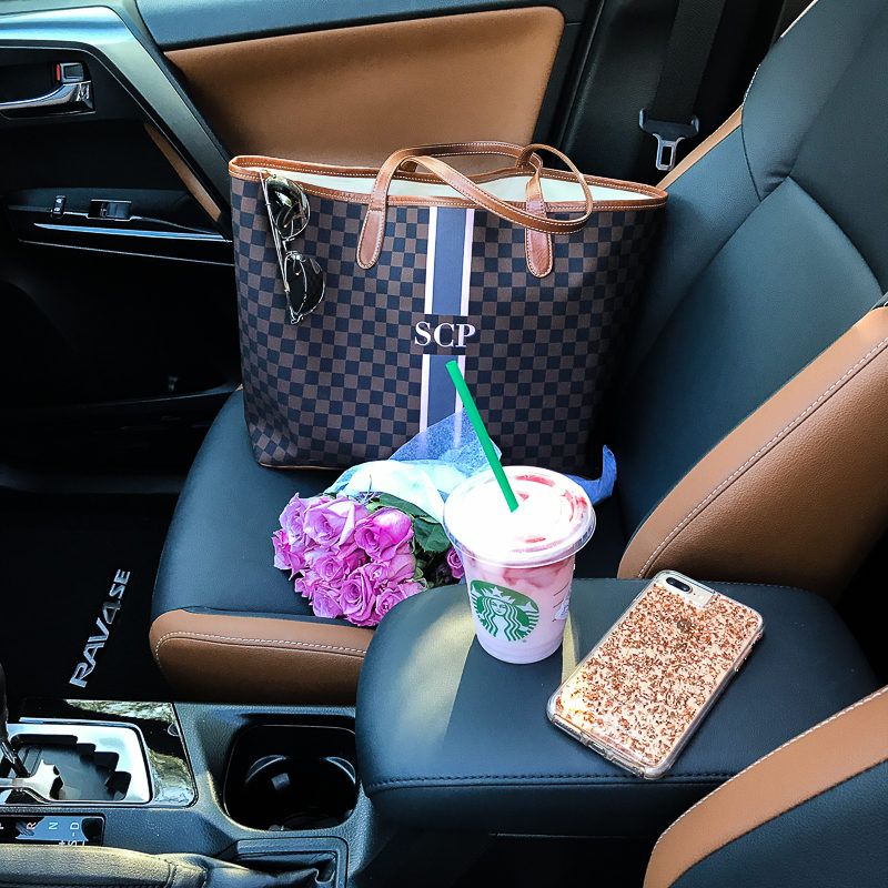 Miami fashion blogger Stephanie Pernas shares a photo of her Barrington Gifts St Anne tote in a Toyota RAV4