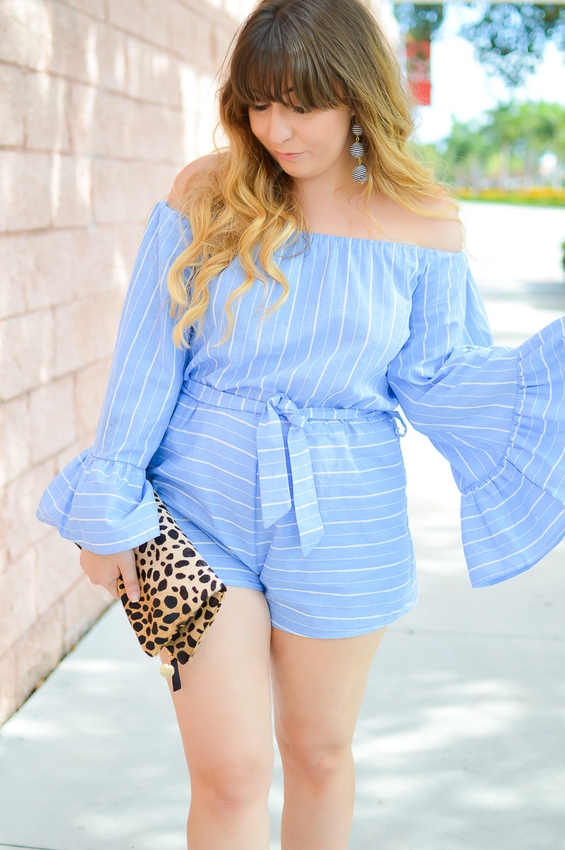 Miami fashion blogger Stephanie Pernas styles a stripe romper for summer