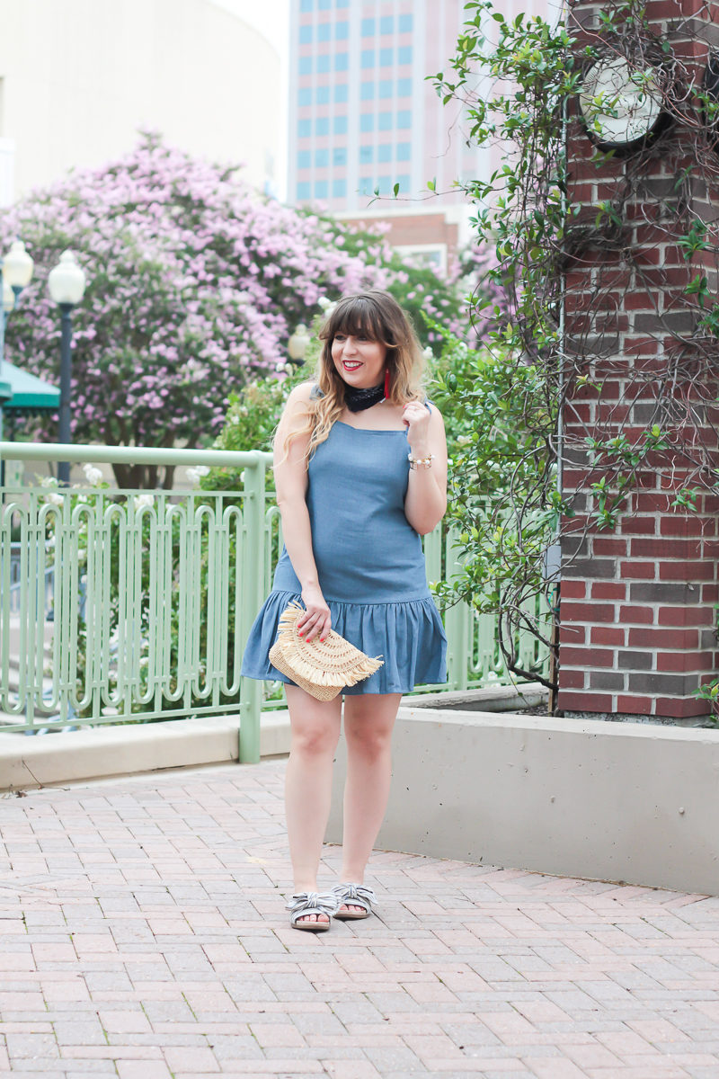 Chambray dropwaist dress for 4th of July with stripe sandals