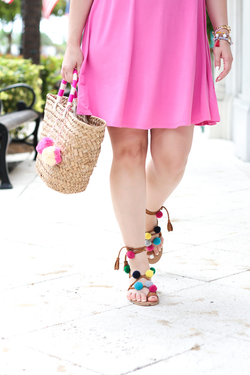 Miami fashion blogger Stephanie Pernas wearing Goodnight Macaroon pom pom sandals