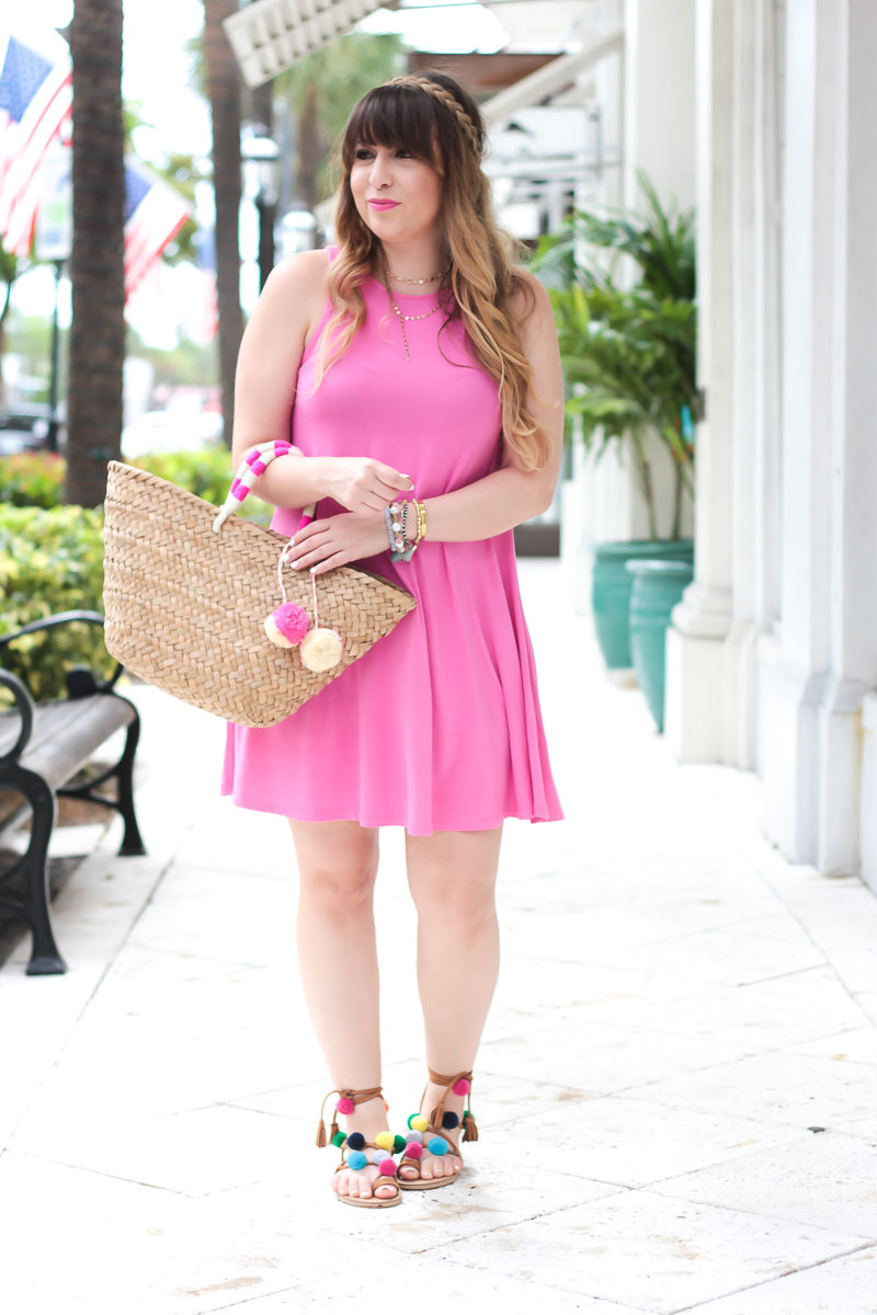 Miami fashion blogger Stephanie Pernas wearing a pink Old Navy jersey swing dress