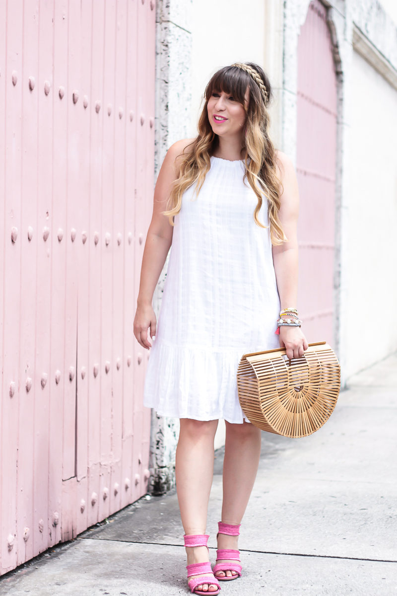 Miami fashion blogger Stephanie Pernas wearing an affordable white dress