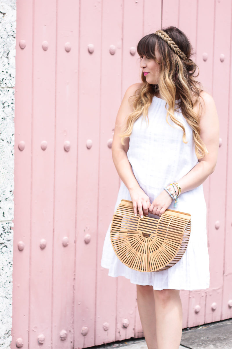 Miami fashion blogger Stephanie Pernas wearing a little white dress for summer