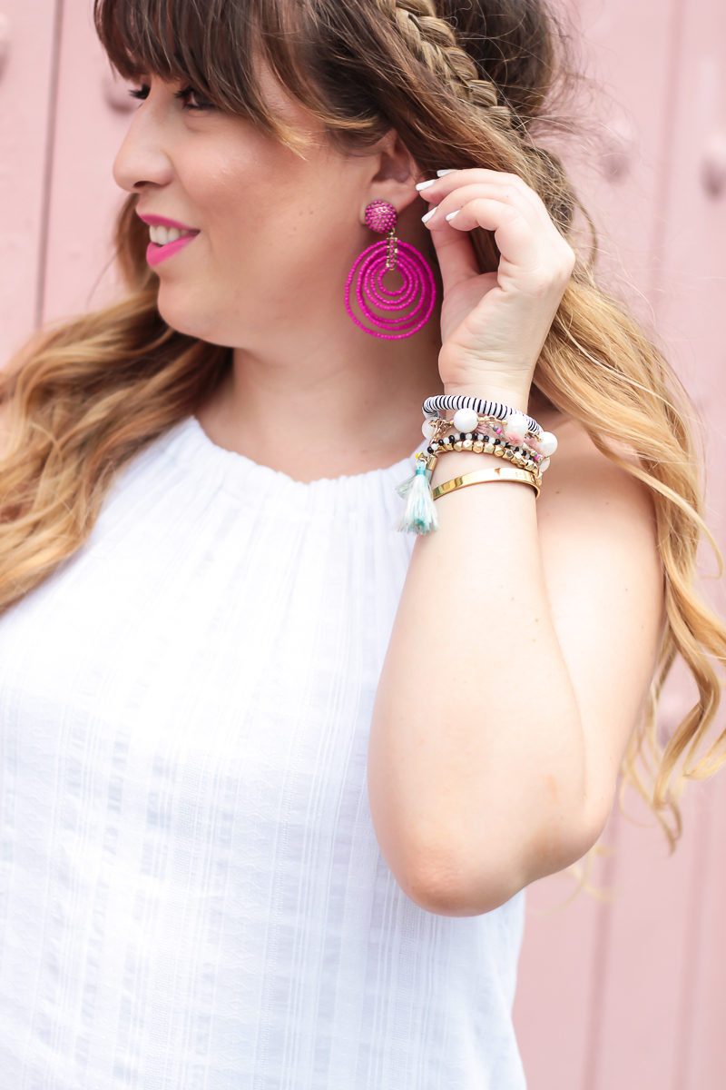 Miami fashion blogger Stephanie Pernas wearing Baublebar Clover Drops earrings with a white dress