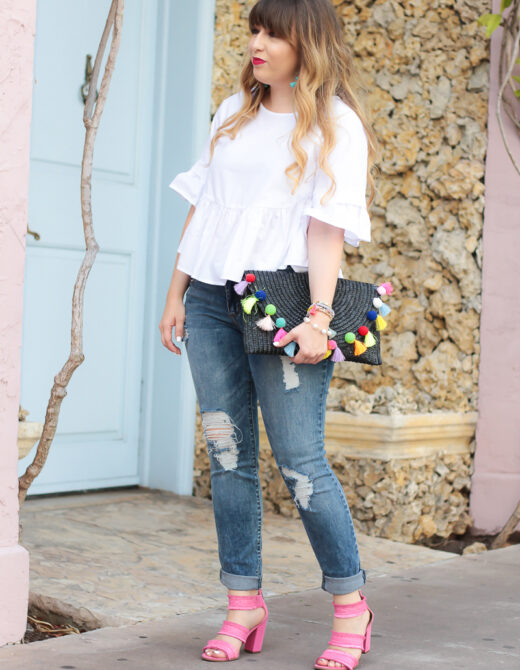 Ruffle top and jeans outfit