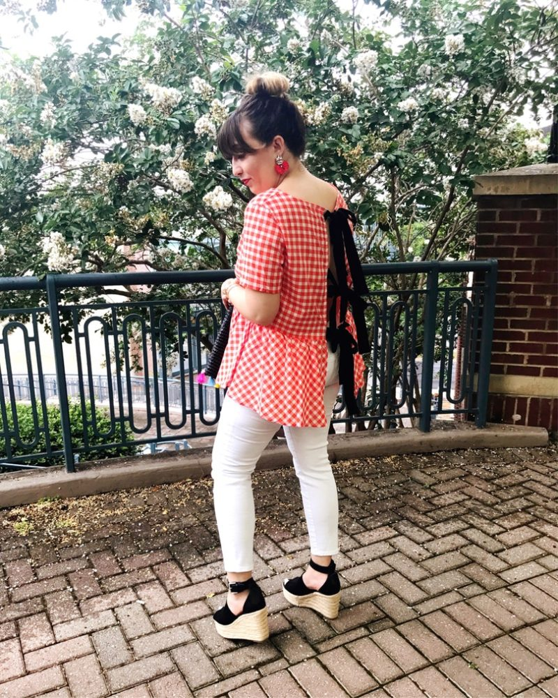 red gingham bow back top