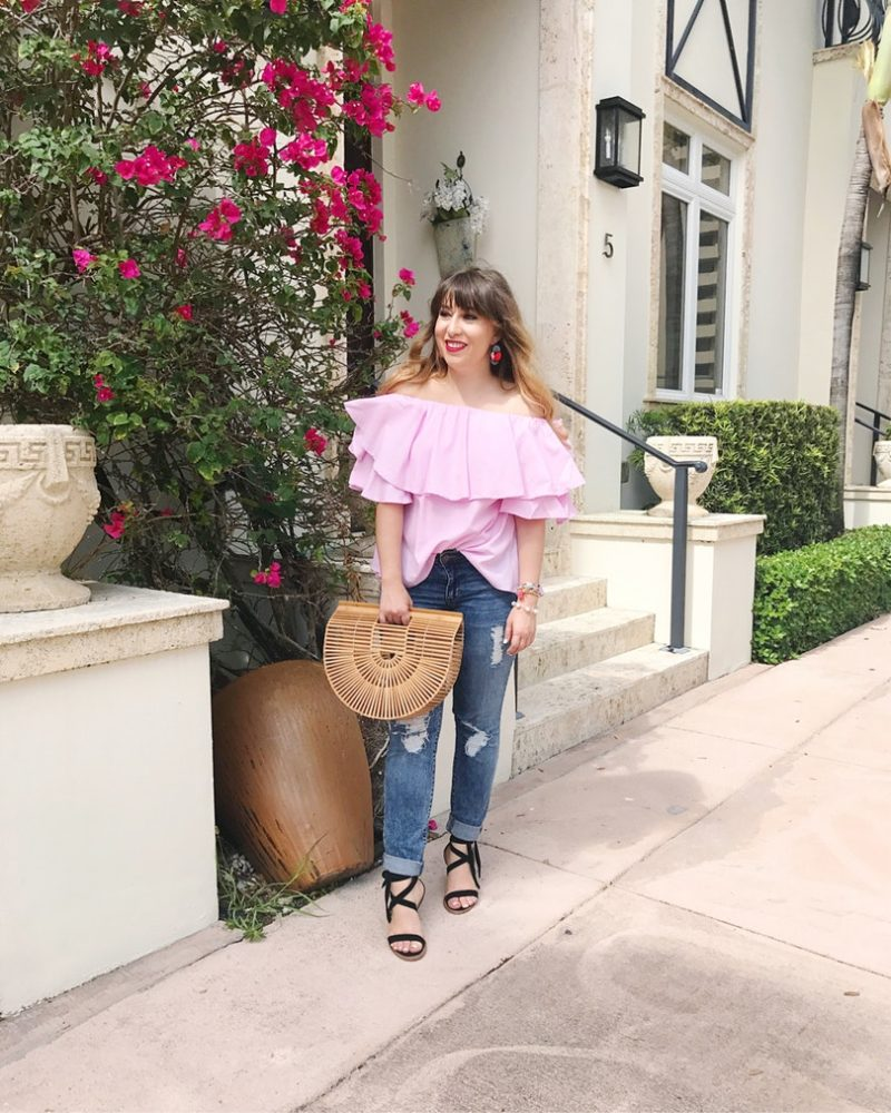 Pink gingham off the shoulder top and jeans outfit for summer