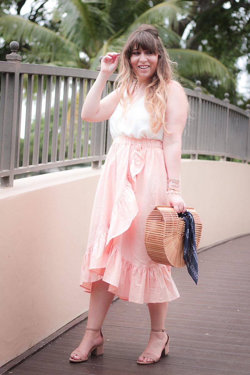 Miami fashion blogger Stephanie Pernas wearing a cute ruffle midi skirt from ASOS
