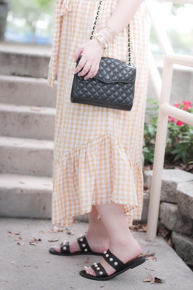 Ruffle gingham skirt and pearl slides