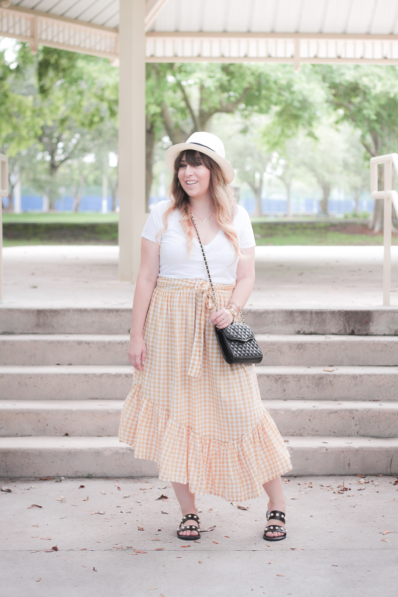 ASOS yellow gingham ruffle skirt-3