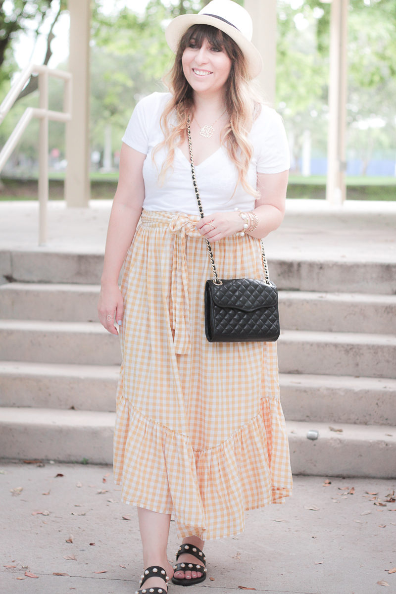 Miami fashion blogger Stephanie Pernas of A Sparkle Factor wearing a gingham ruffle skirt