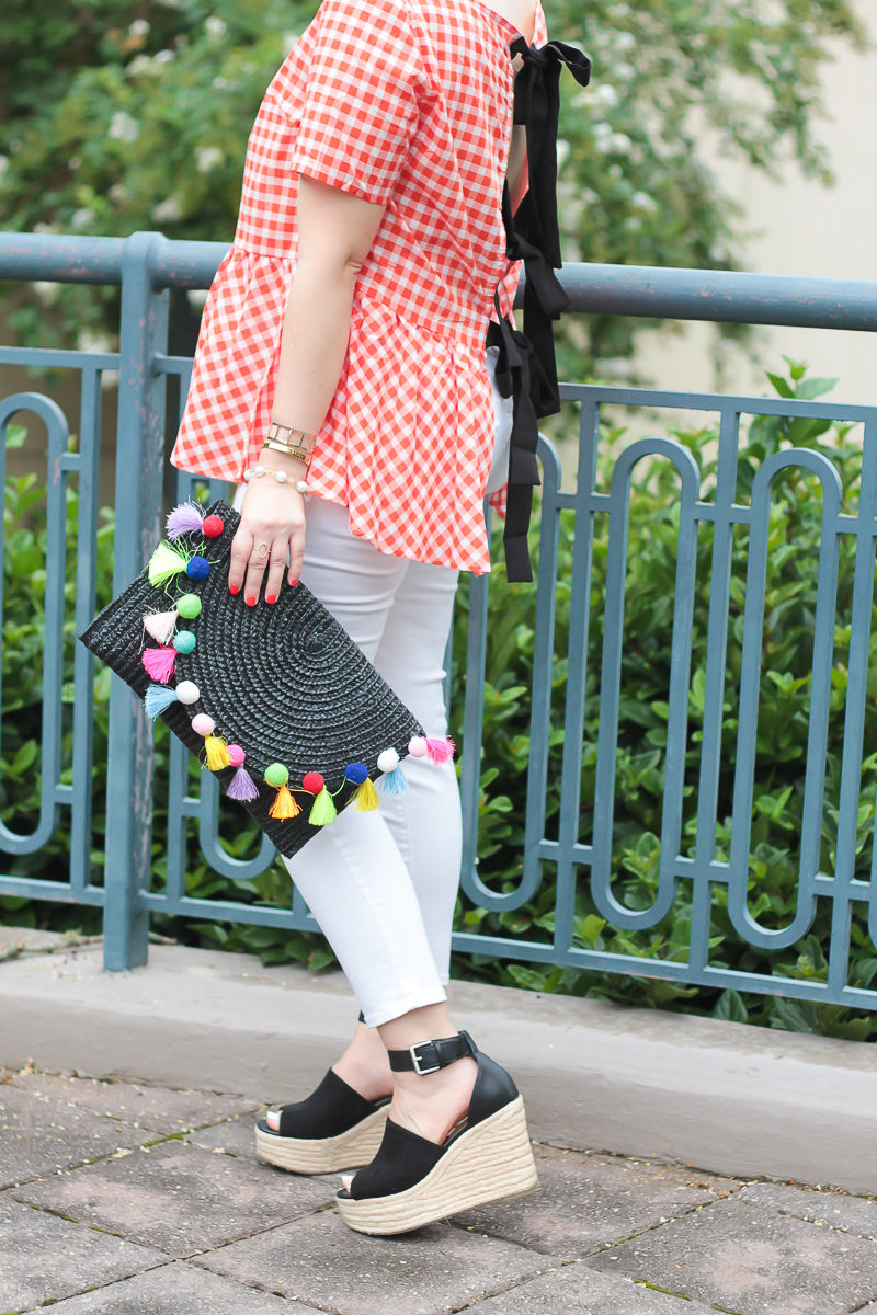 Gingham tie back top and jeans