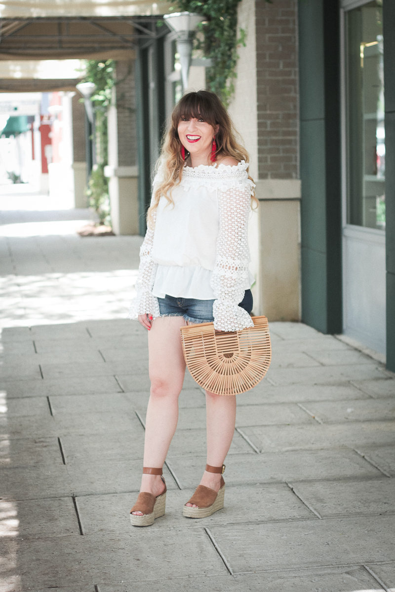 Miami fashion blogger Stephanie Pernas styles a jean shorts and wedges outfit idea
