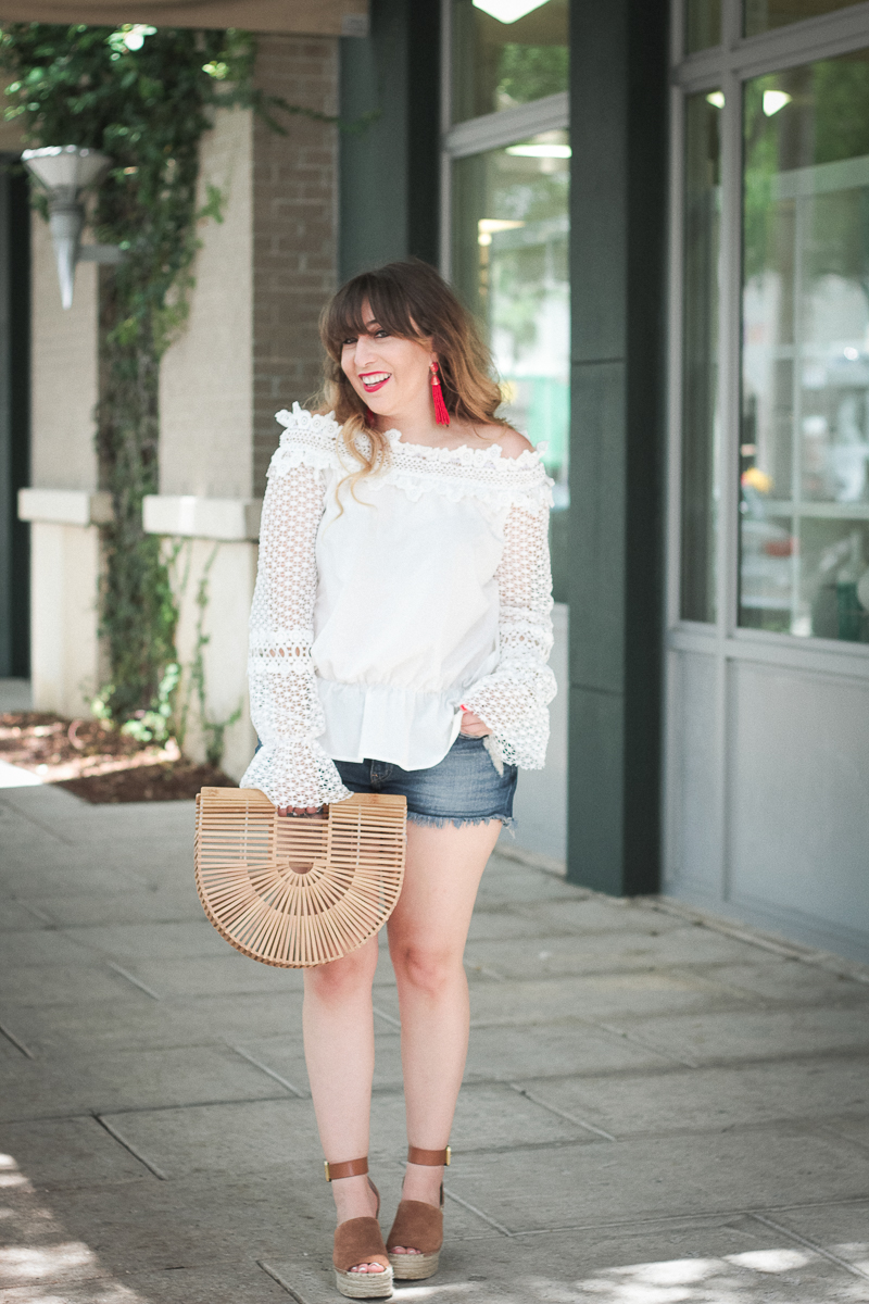 July 4th Outfit- White off the shoulder top + jean shorts_