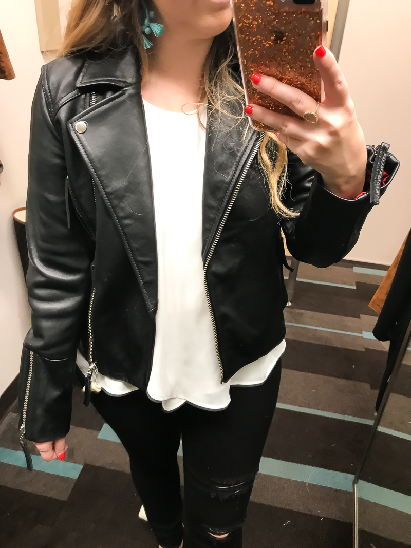 Nordstrom Anniversary sale Topshop leather moto jacket