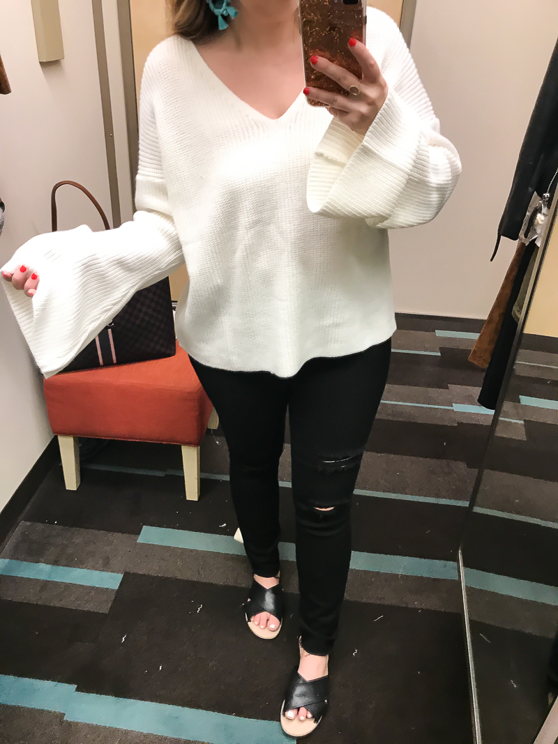 Nordstrom Anniversary Sale 2017 Dressing Room Diary Topshop bell sleeve sweater
