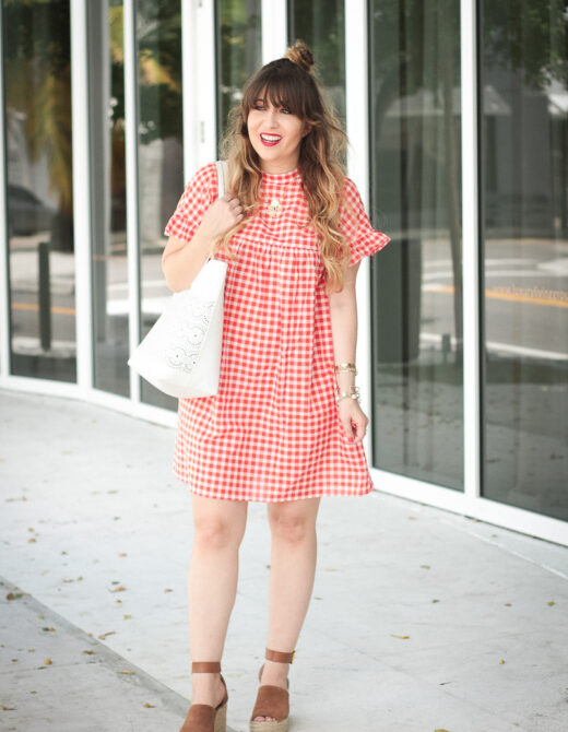 Red gingham babydoll dress-2