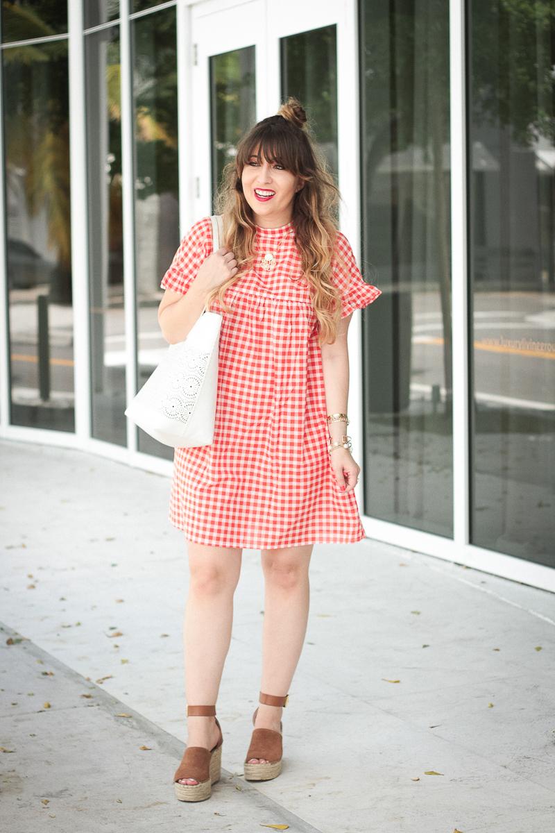 Red gingham babydoll dress-2