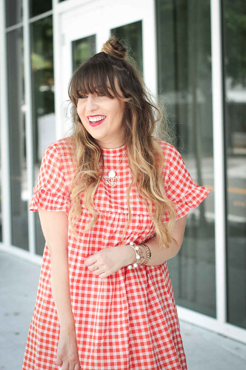 Red gingham babydoll dress and wedges-7