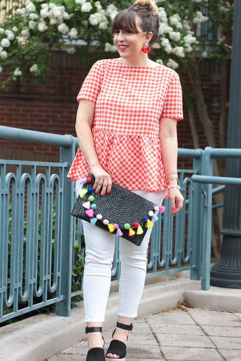 Red gingham top and jeans outfit for summer