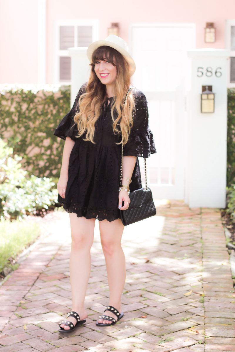 Black babydoll dress for summer outfit