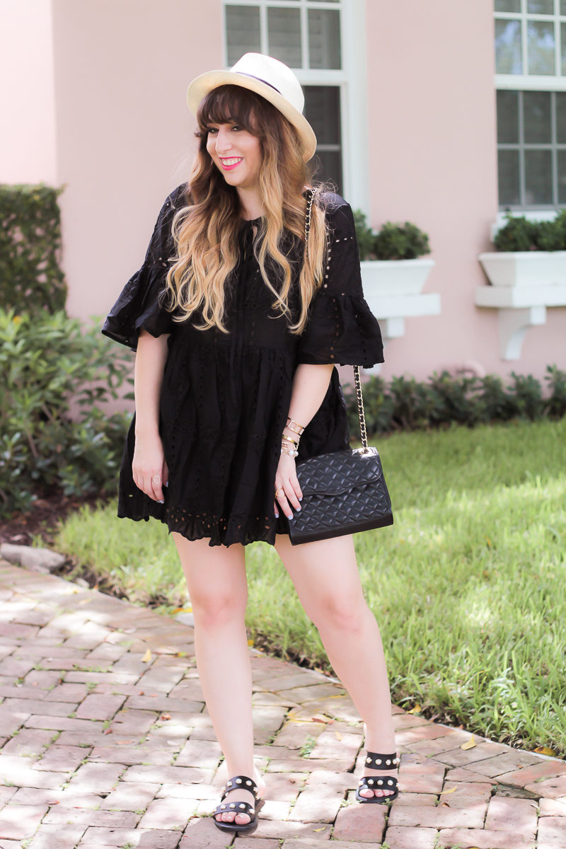 Cute eyelet dress and hat outfit