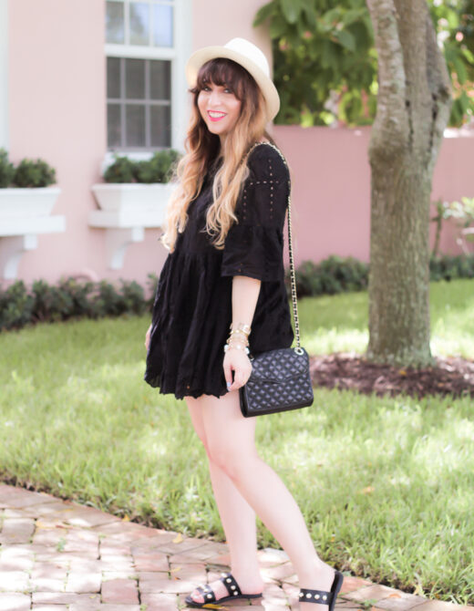 Shein black eyelet babydoll dress-5