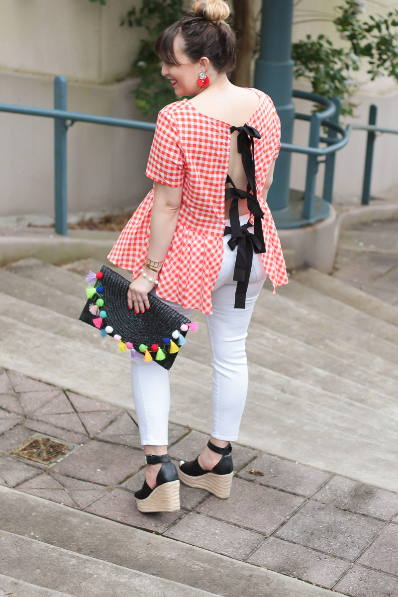 Shein gingham peplum top and jeans