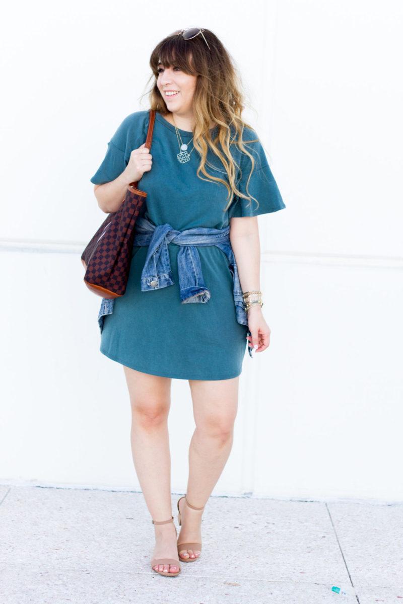 Miami fashion blogger Stephanie Pernas wearing an AQUA teal ruffle t shirt dress