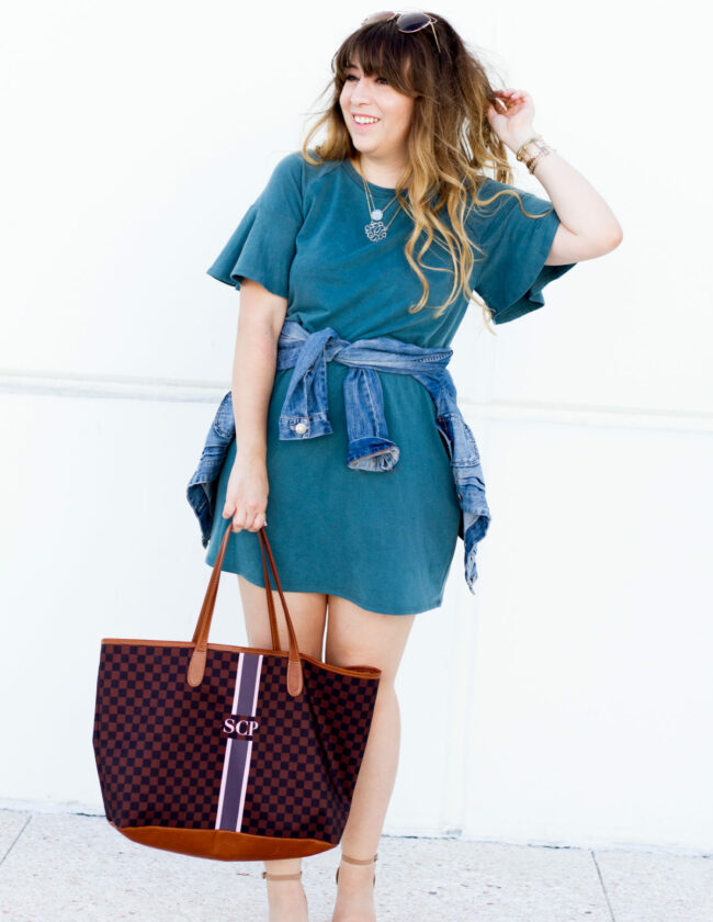 AQUA teal ruffle tshirt dress outfit