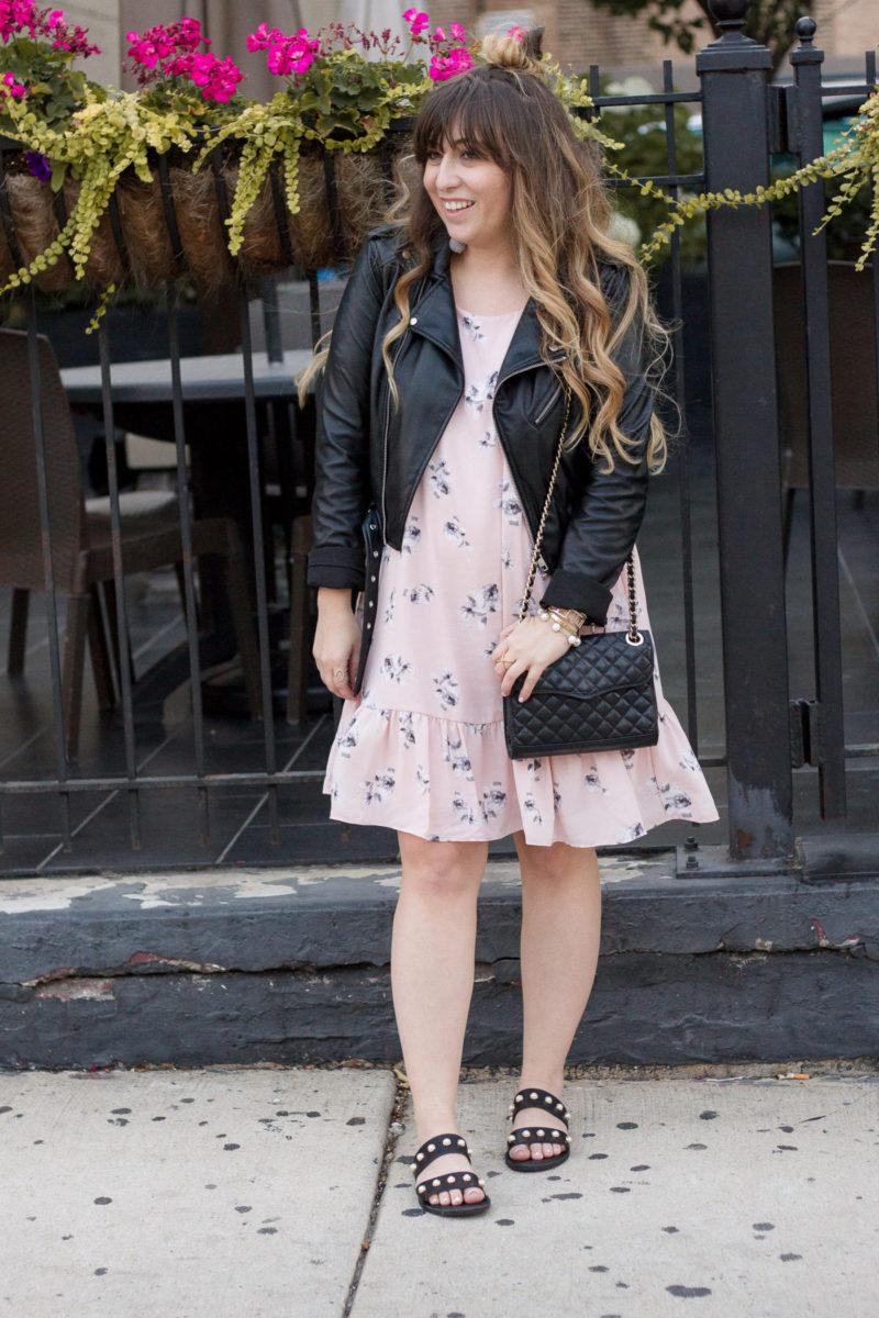 Miami fashion blogger Stephanie Pernas wearing an AQUA pink floral dropwaist dress and leather jacket