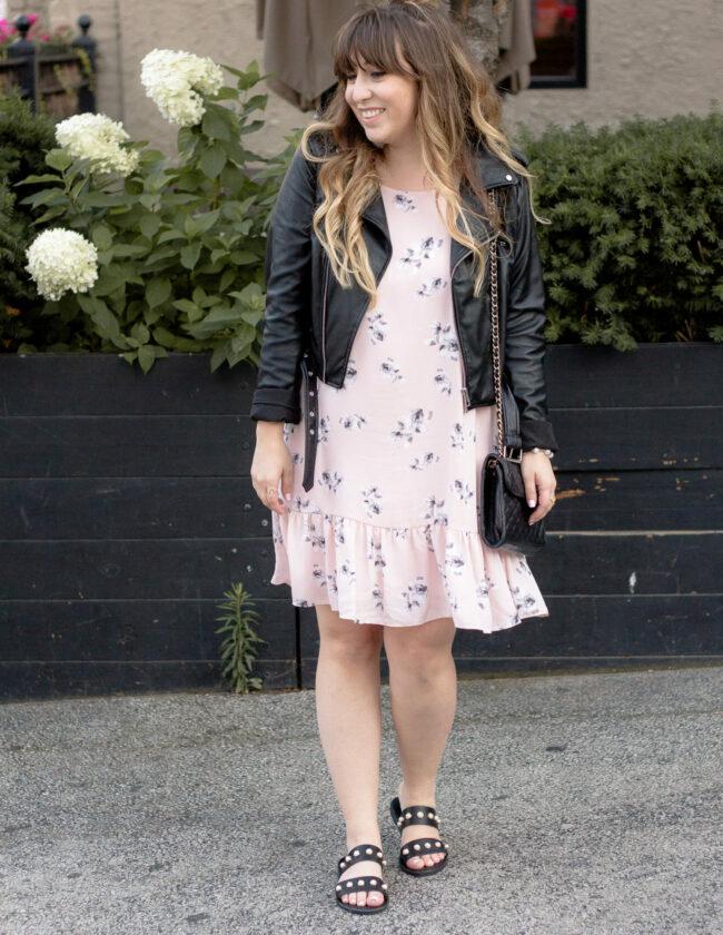 Aqua pink floral dropwaist dress-3