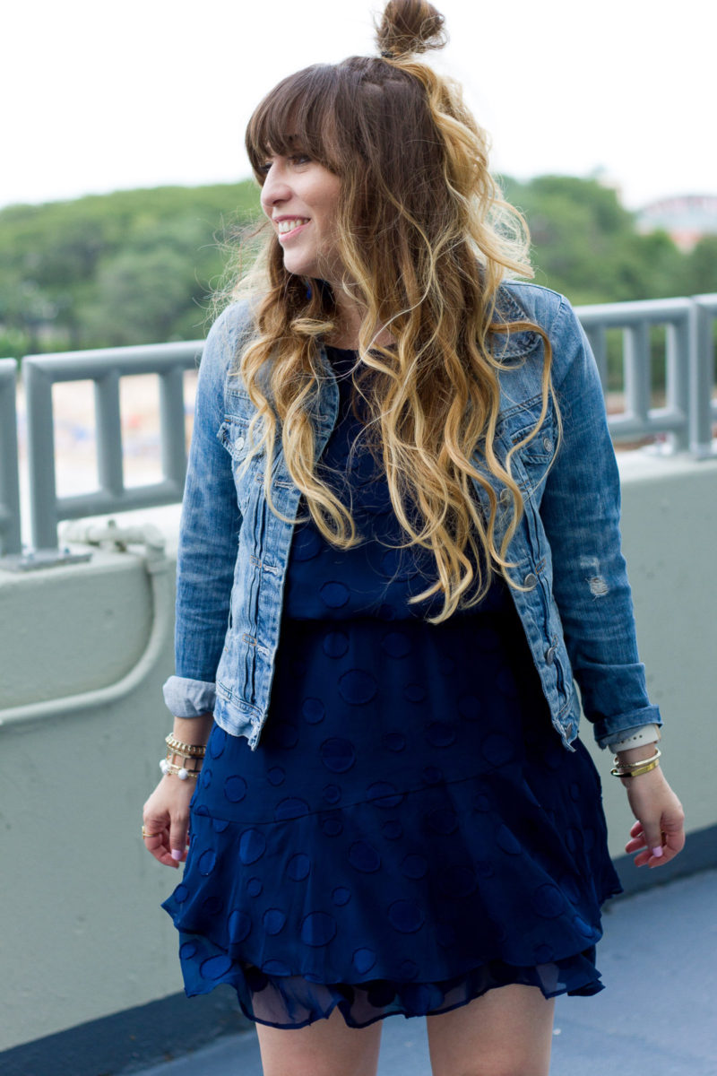 Miami fashion blogger Stephanie Pernas styles a cute jean jacket and dress outfit