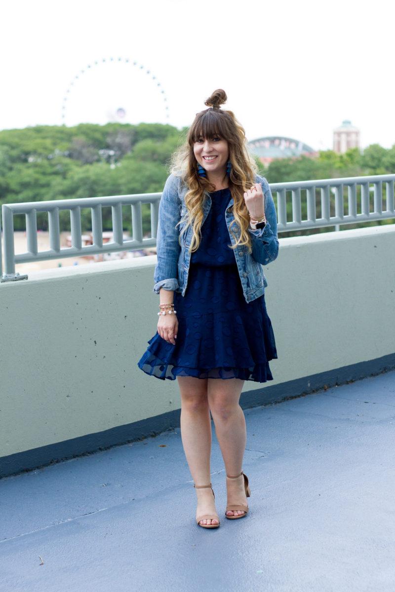 Jean Jacket + Navy Chiffon Dress • a Sparkle Factor by