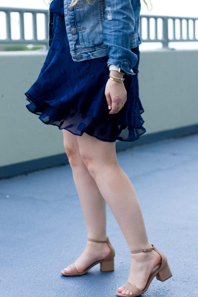 Miami fashion blogger Stephanie Pernas wearing a Cooper & Ella chiffon dress and Target block heel sandals