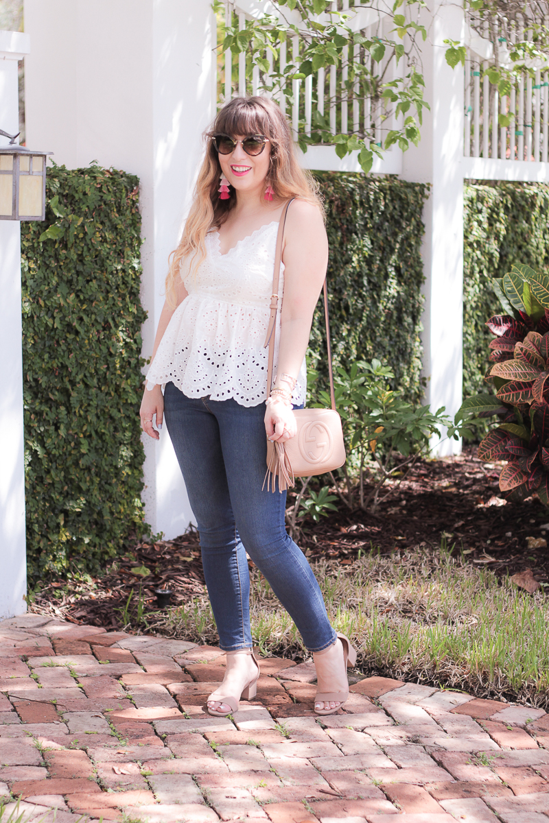 Eyelet peplum top + jeans outfit
