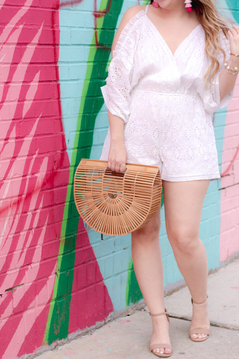 Miami fashion blogger Stephanie Pernas styles an eyelet roper and bamboo bag
