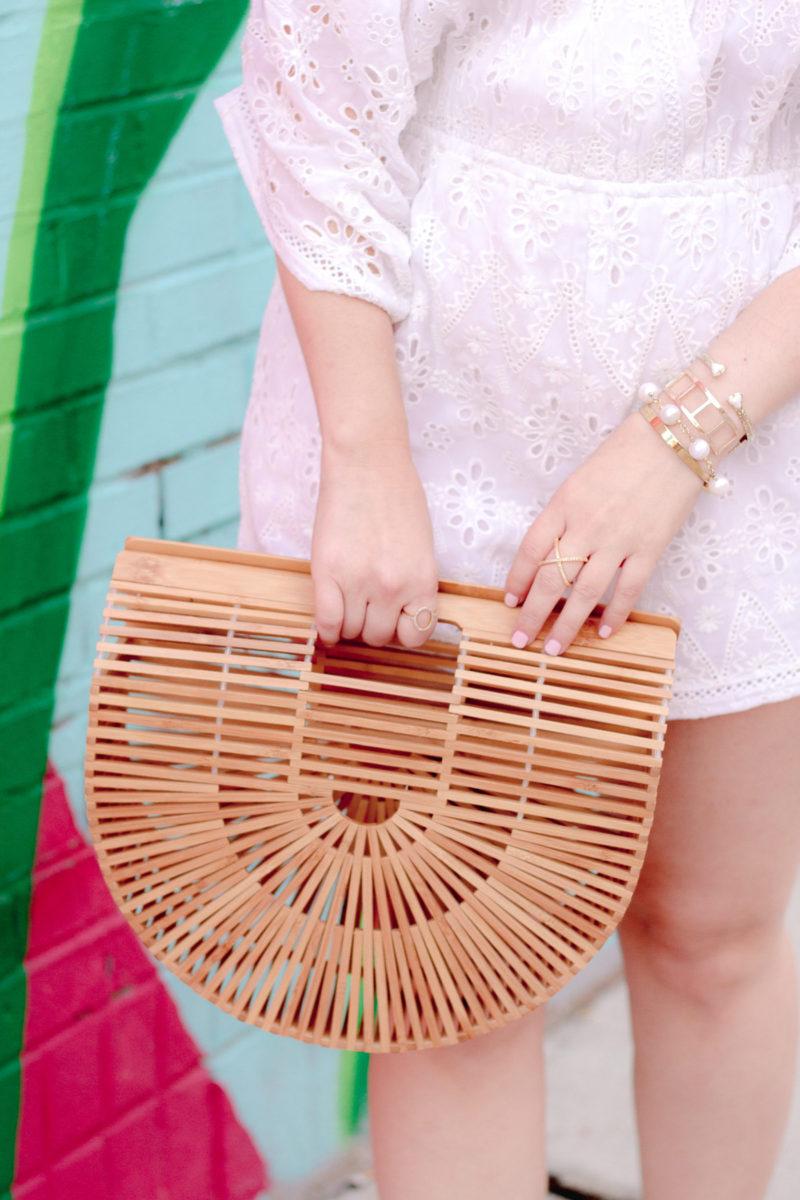 Miami fashion blogger Stephanie Pernas styles a Cult Gaia bag dupe