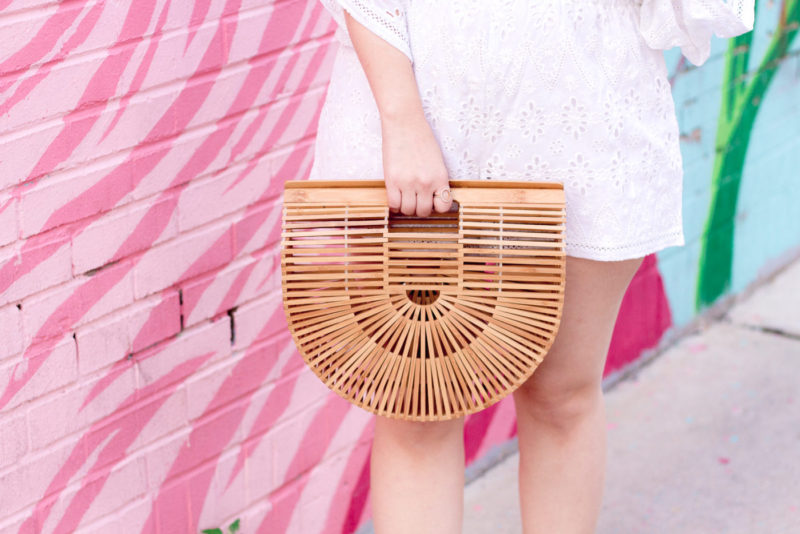 Miami fashion blogger Stephanie Pernas styles the Zoe & Grace Noah bag, an under $100 Cult Gaia bag dupe