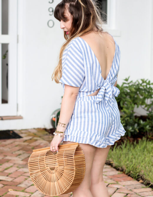 Shein blue and white stripe set-7