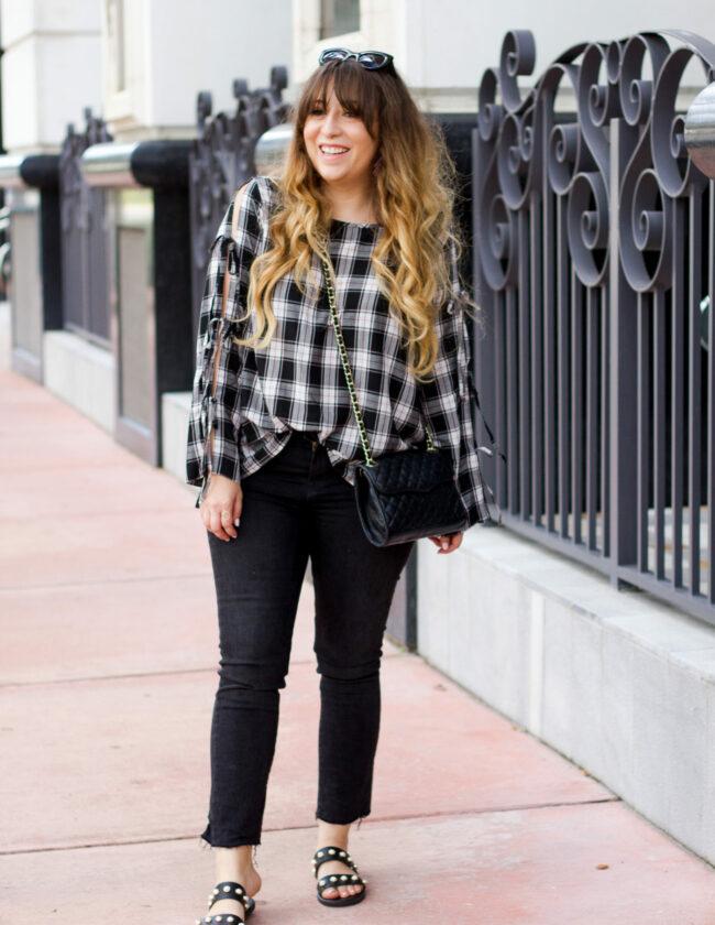 LOFT plaid top + jeans outfit_-2