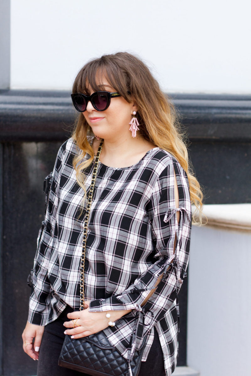 Miami fashion blogger Stephanie Pernas wearing Sugarfix earrings and a LOFT plaid top