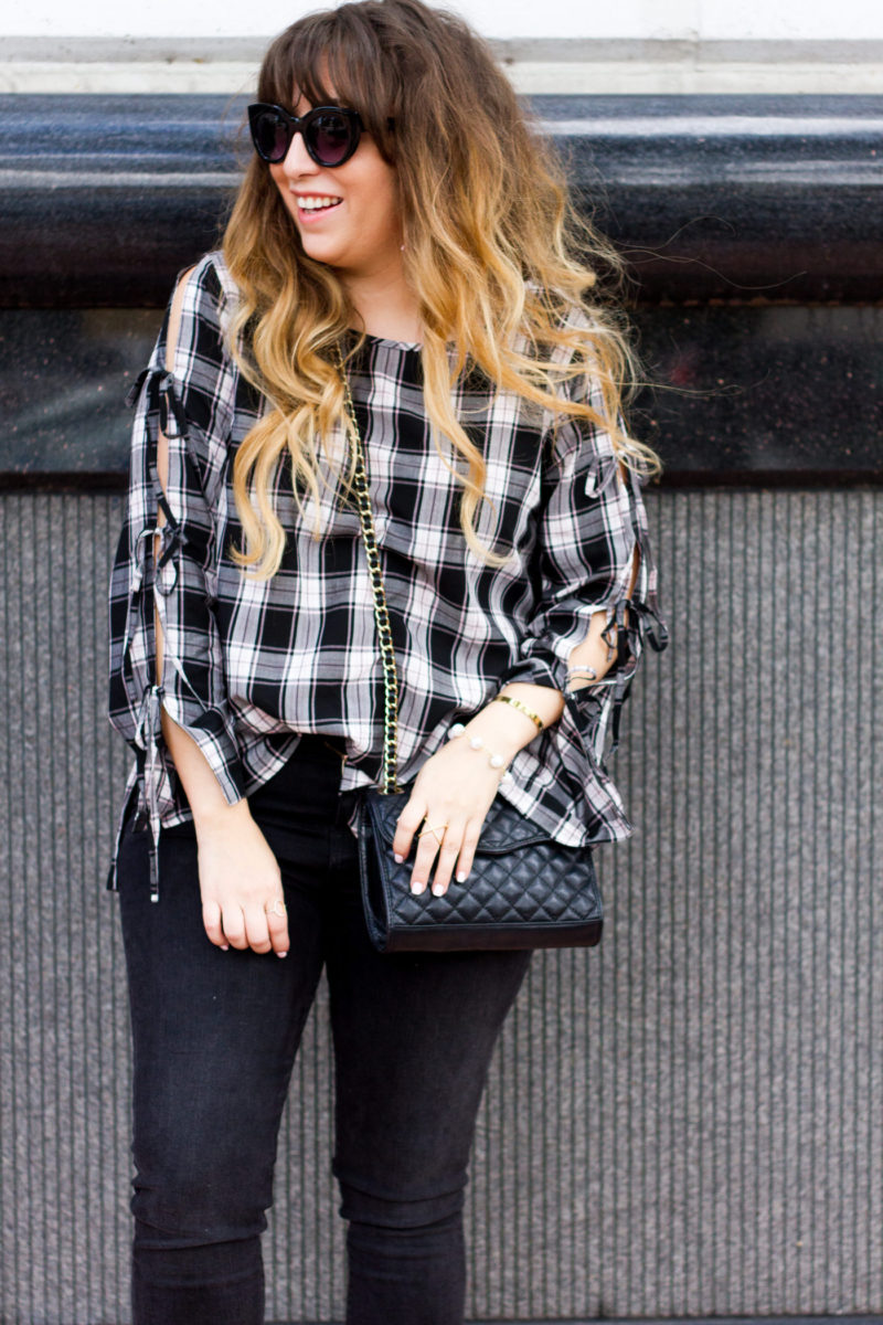 Miami fashion blogger Stephanie Pernas styles a LOFT plaid top and black jeans for fall
